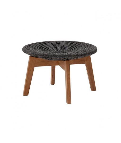 Peacock footstool w/ teak legs