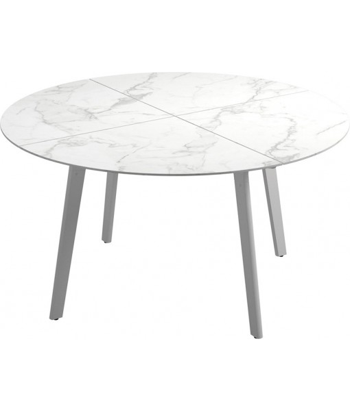 """CARVER Dining Table 55""""DIA White / ..."""