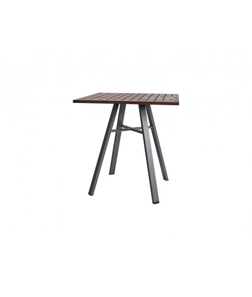 HARMONY 29″ Square Bistro Table | Gray with Ipe Top