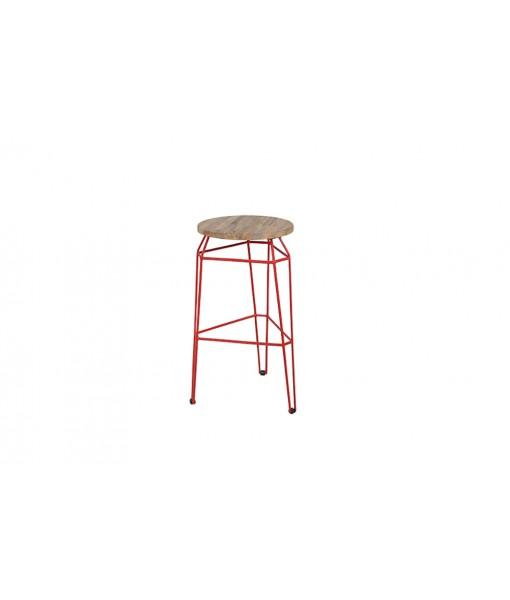 MATCH round bar stool (teak)
