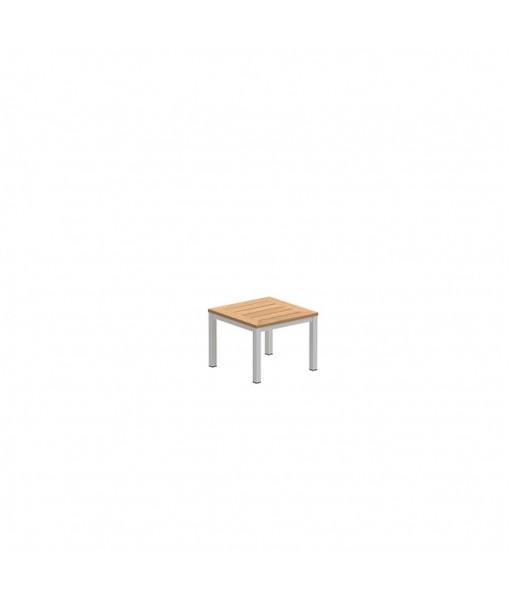 TABOELA TABLE 50X50CM WHITE WITH TEAK ...